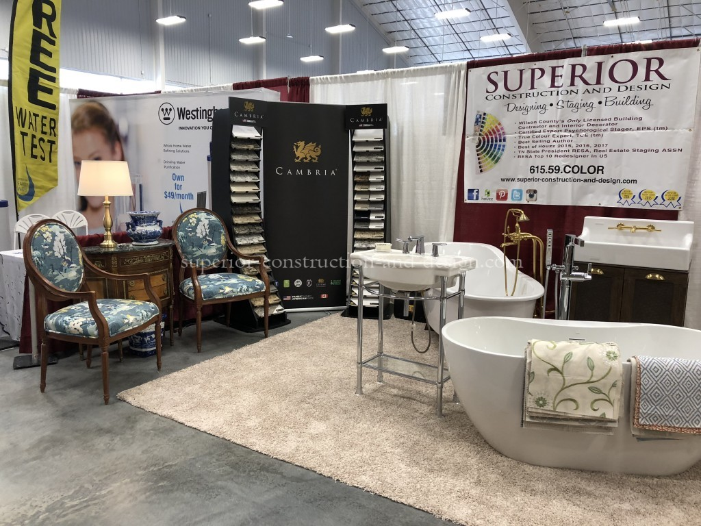 Cambria and Ferguson at the Superior Construction and Design booth at the Wilson Bank and Trust Southern HOme and Garden Expo in Lebanon, TN
