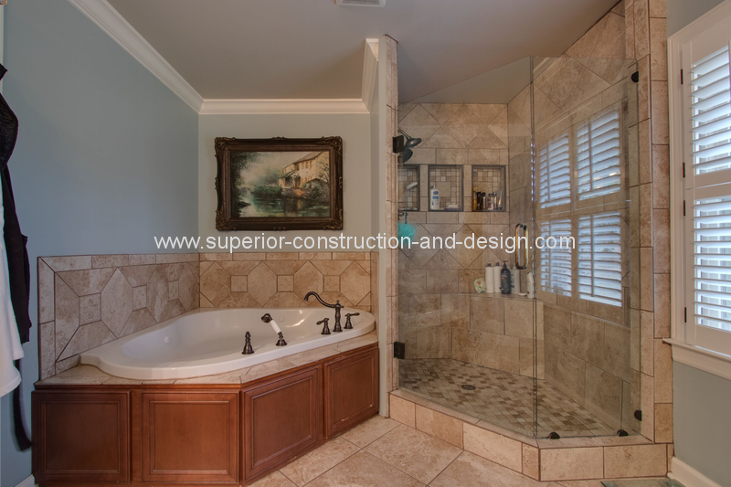 master bathroom before remodel dated tn light blue walls tile floors