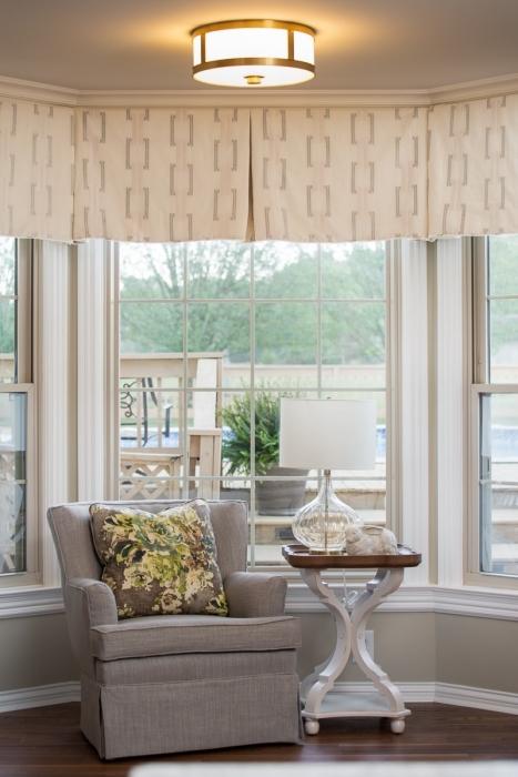 nook upholstered chair grey floral pillow valence cream mt juliet tn