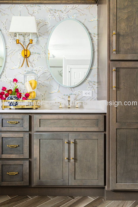 master bathroom double vanity backlit mirrors traditional sconce chinoiserie wallpaper