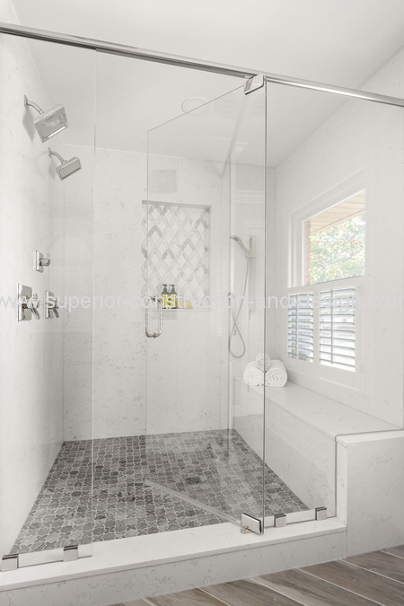 walkin shower double shower heads nickel hand shower tile detail bench tn