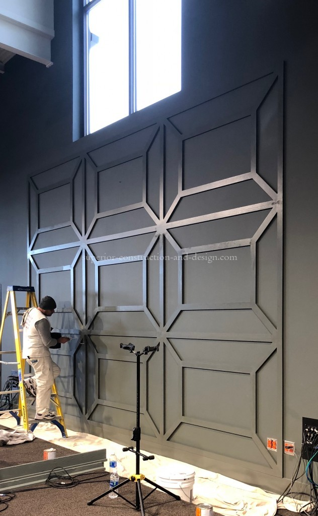 Painted cusom millwork design for stage church wall Superior Construction and Design