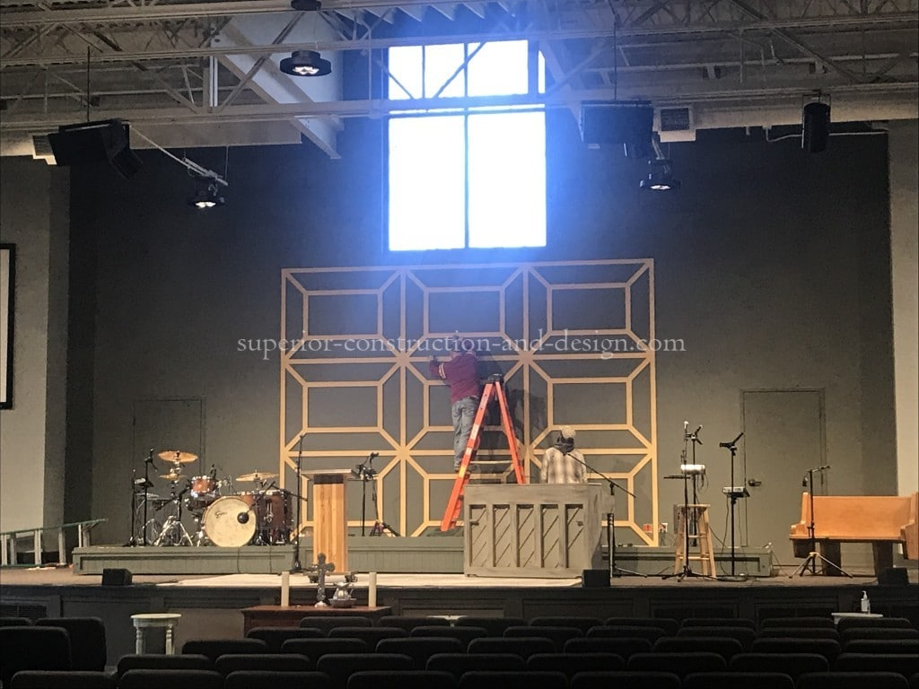Custom computer cut millwork for stage wall at church Superior Construction and Design Lebanon TN