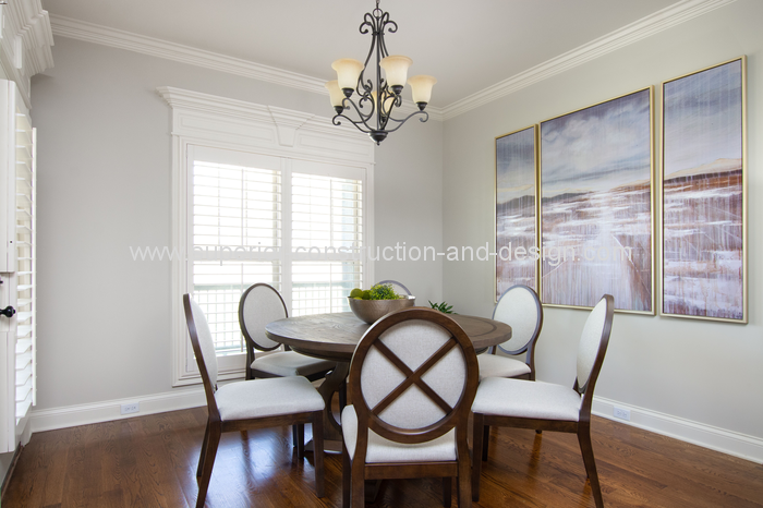 after decorating project dining area traditional chandelier seating painting panels
