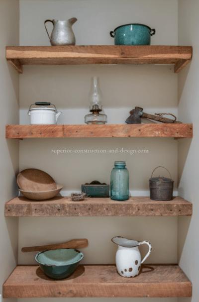 Superior Construction & Design mudrooms tn vignette cute shelving pots pans