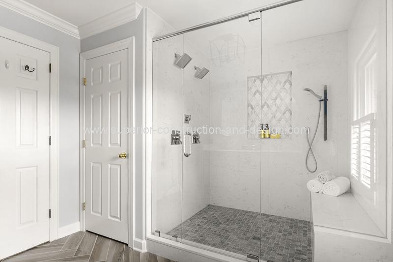 walkin shower double shower heads nickel hand shower tile detail bench