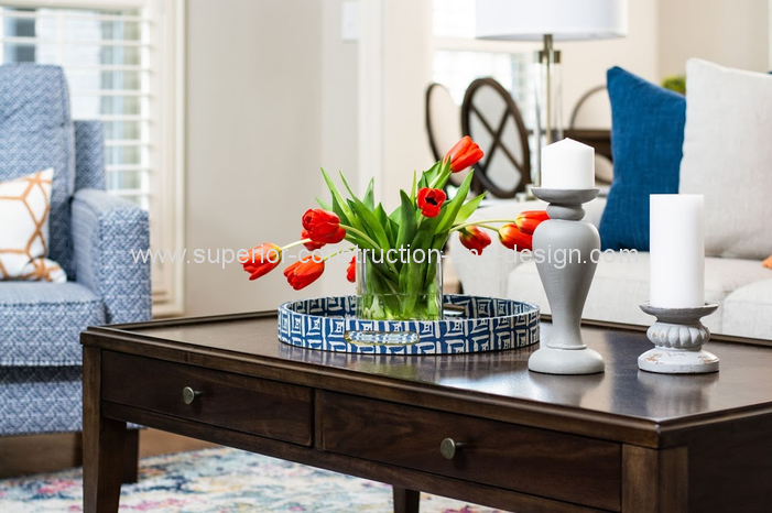 vignette decorating red tulips blue white traditional coffee table tray wood console