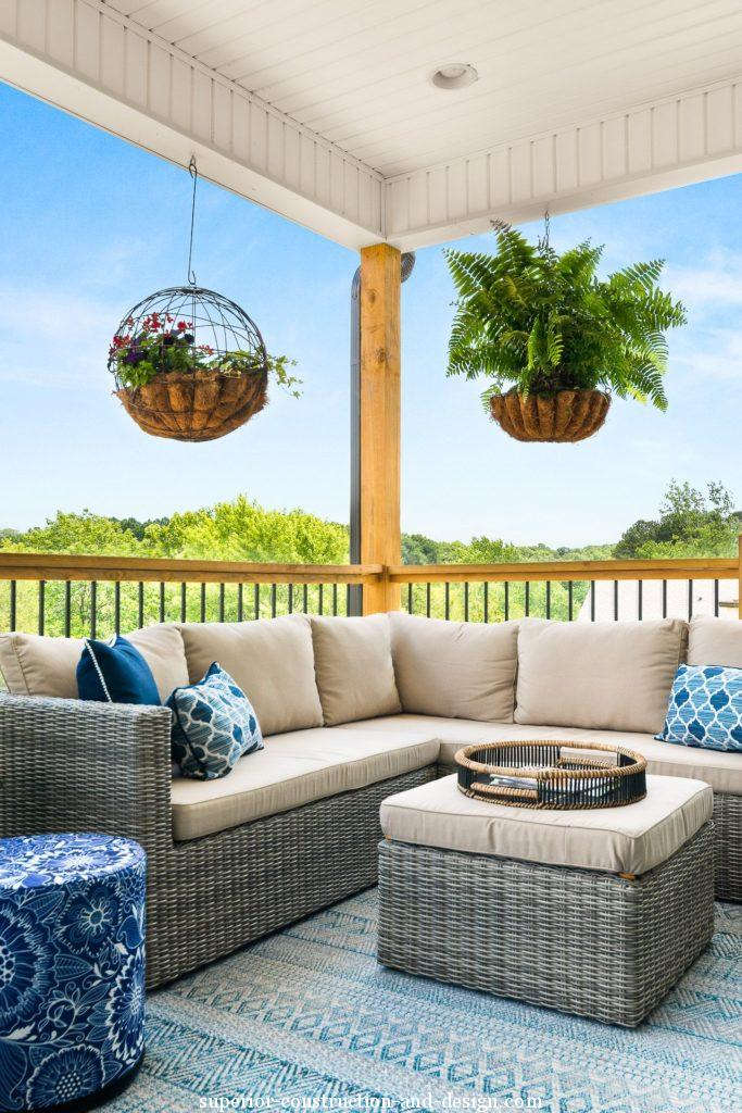 interior design new build lake home tour GC ID outdoor entertaining area living space