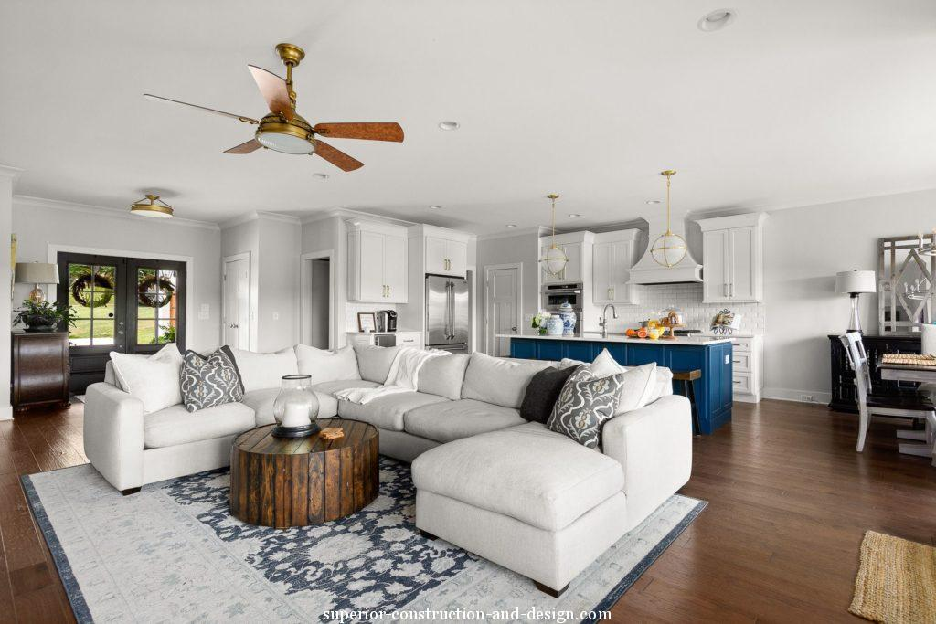 interior design new build lake home tour GC ID bright white traditional fresh blue island