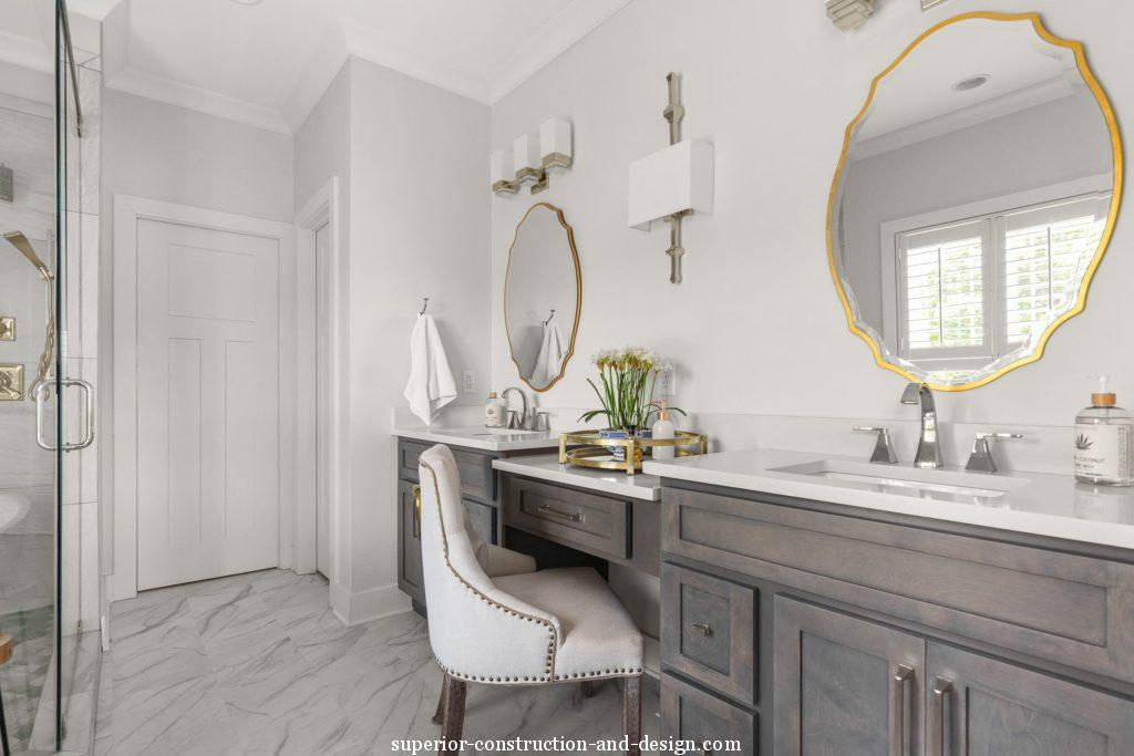 lake home new build superior construction and design gc master ensuite bathroom traditional fresh seating vanity mirror