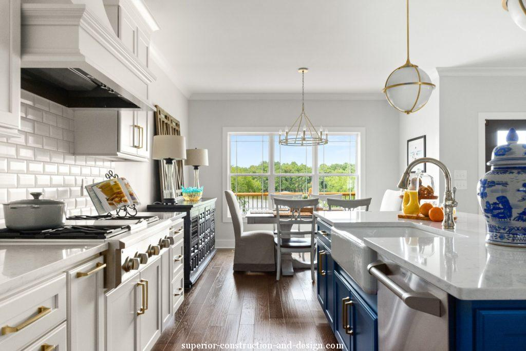 interior design new build lake home tour GC ID white kitchen elegant traditional blue island