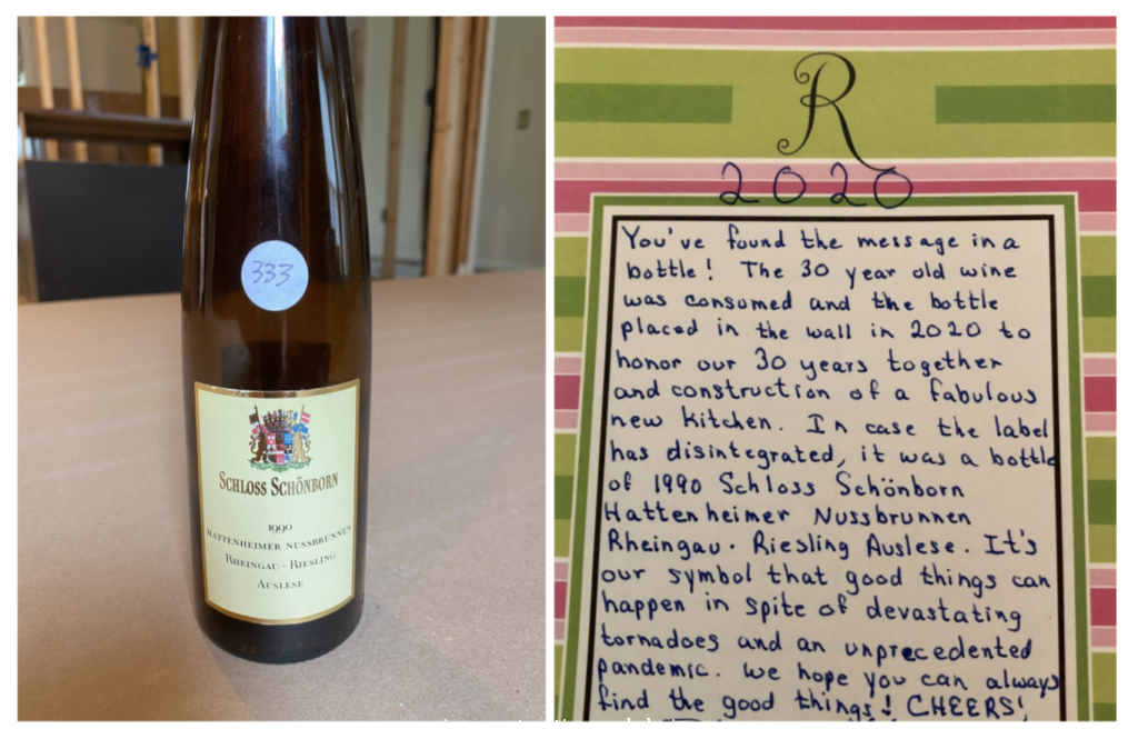 message in a wine bottle hidden in walls of new build home 30 year anniversary