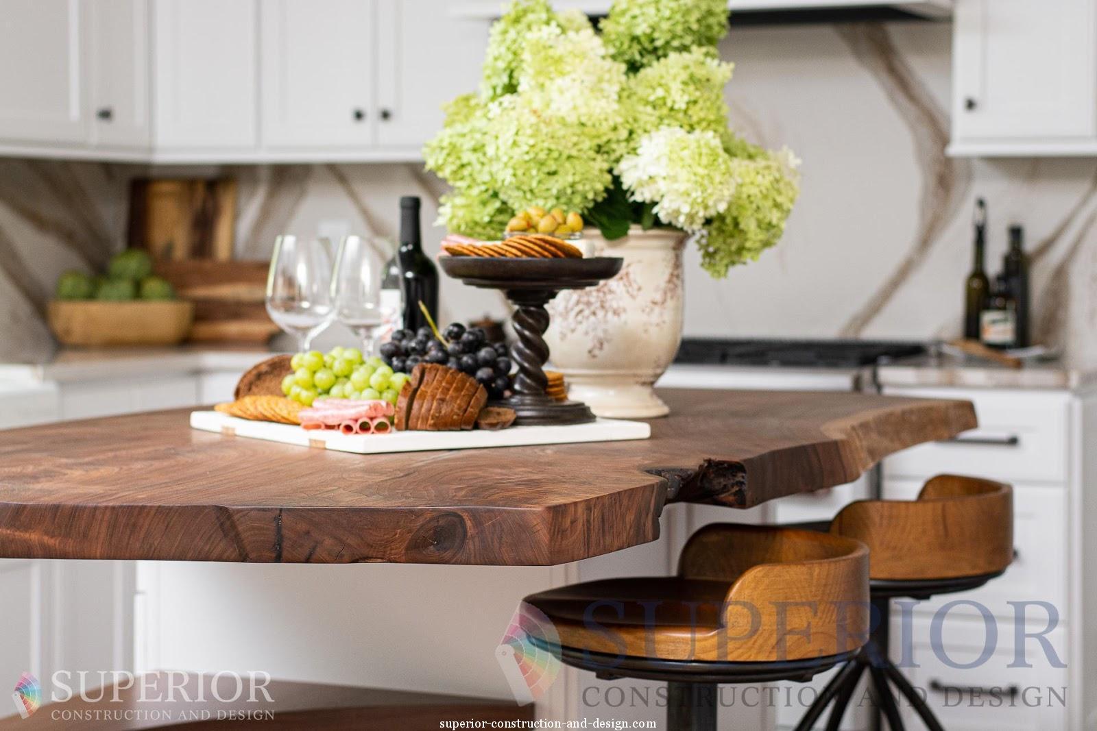 kitchen renovation budget live edge walnut countertop bar stools cambria quartz