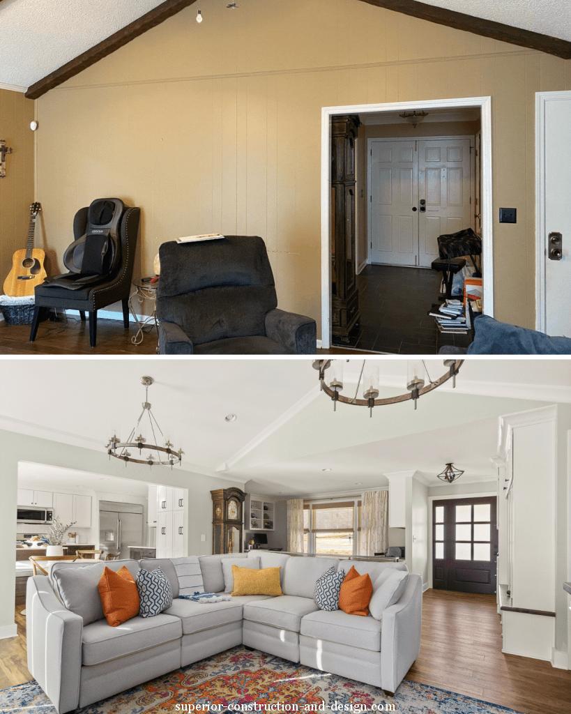 superior construction design ranch home renovation light green white woods living room