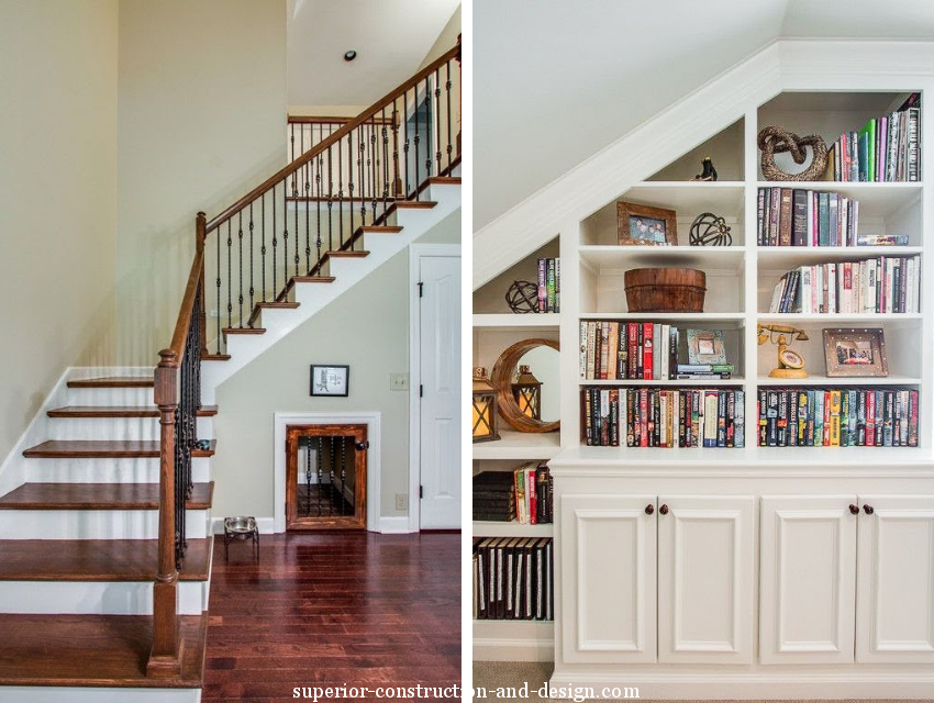 superior construction and design create a multi-functional space under stair built in bookshelf and dog house