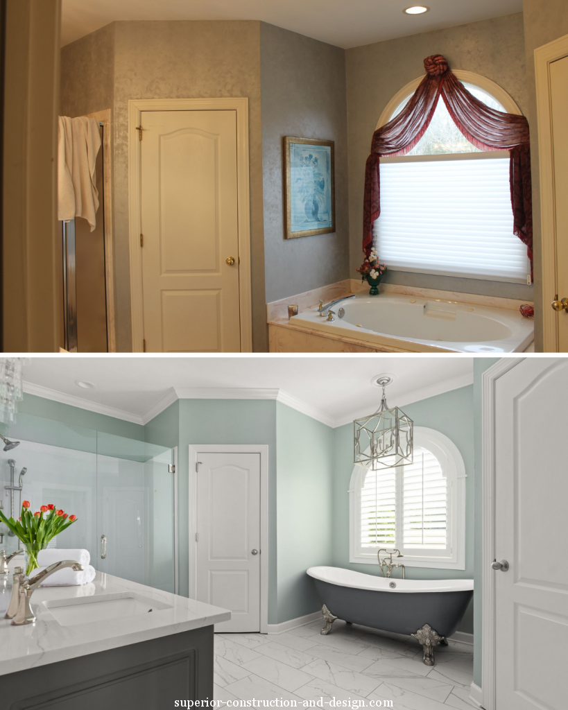 before and after view fresh modern traditional space clawfoot tub blue-green walls dark vanity marble tiles