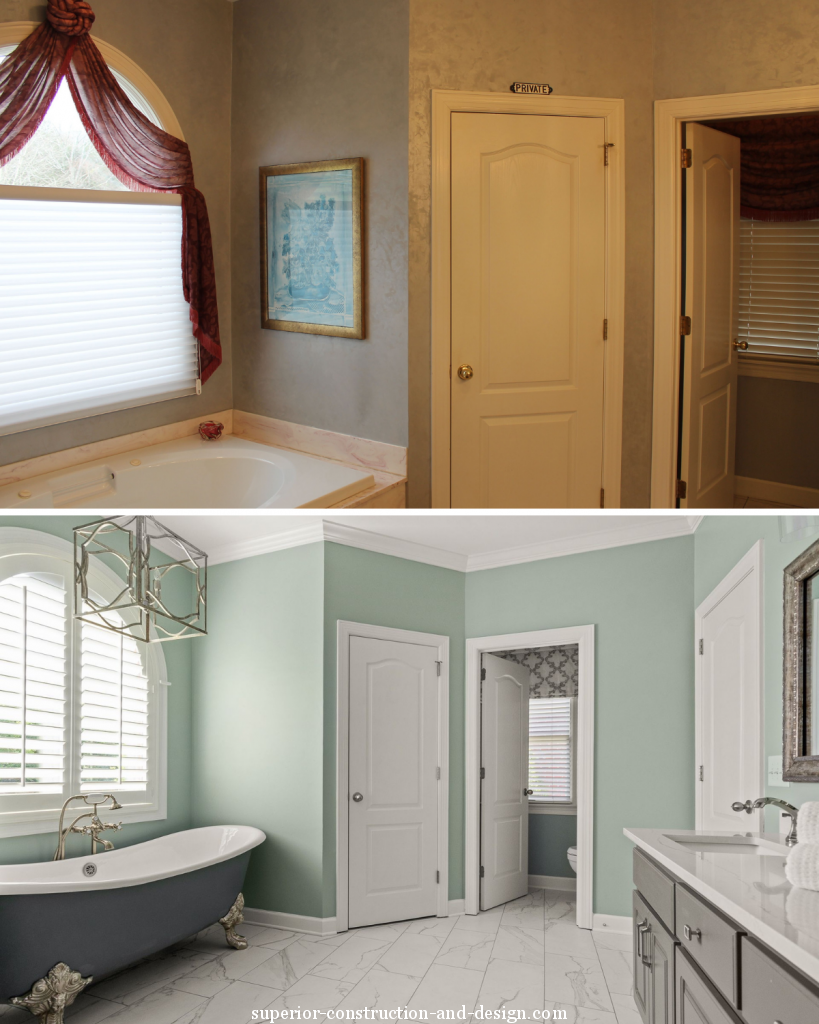 before and after view fresh modern traditional space clawfoot tub blue-green walls dark vanity marble tiles lebanon tn