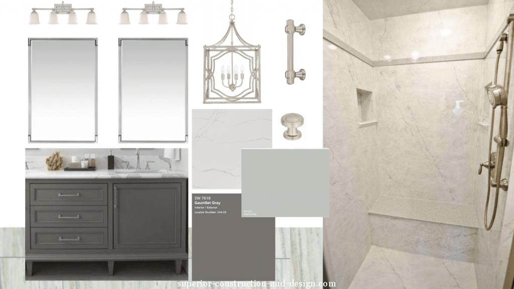 master bathroom moodboard blue-green gray marble nickel hardware modern traditional chandelier
